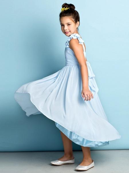 A-Line One Shoulder Asymmetrical Chiffon Junior Bridesmaid Dress With Criss Cross / Flower / Natural / Mini Me_10