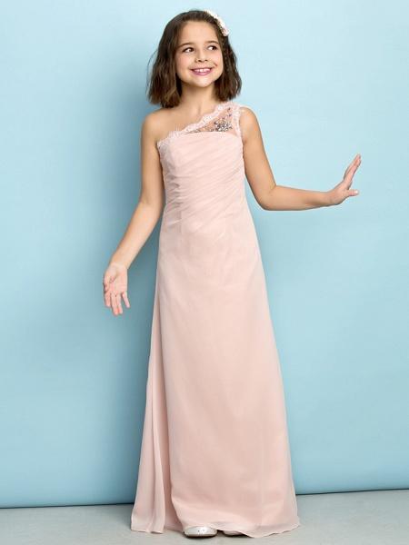 Princess One Shoulder Floor Length Chiffon Junior Bridesmaid Dress With Crystals / Side Draping / Natural / Mini Me_2
