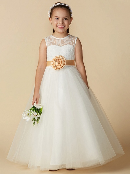 Princess Ankle Length Wedding / First Communion Flower Girl Dresses - Lace / Tulle Sleeveless Jewel Neck With Sash / Ribbon / Bow(S) / Flower_4