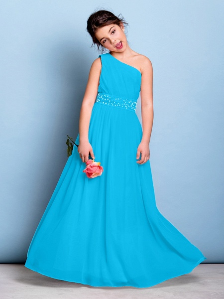 A-Line One Shoulder Floor Length Chiffon Junior Bridesmaid Dress With Sash / Ribbon / Beading / Side Draping / Natural_32