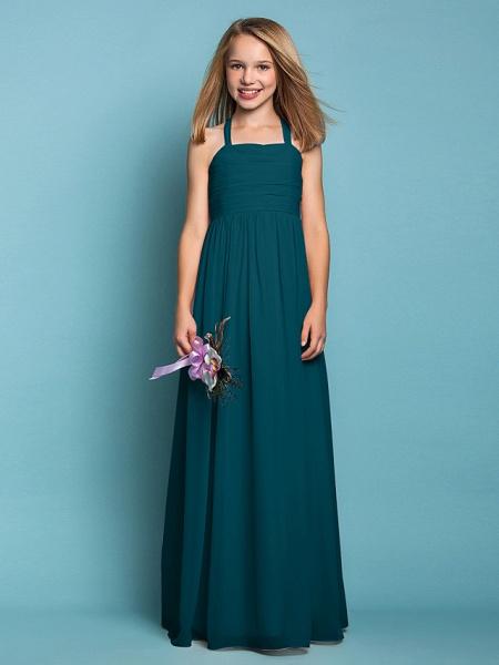 Sheath / Column Halter Neck Floor Length Chiffon Junior Bridesmaid Dress With Ruched / Spring / Summer / Fall / Apple / Hourglass_35