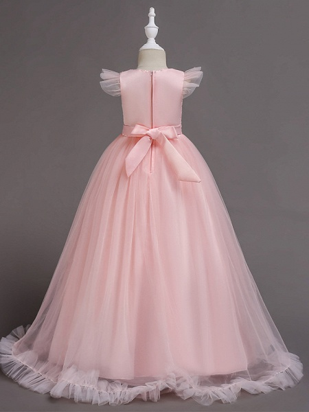 A-Line Floor Length Wedding / Party / Pageant Flower Girl Dresses - Tulle / Polyester Short Sleeve Jewel Neck With Bow(S) / Butterfly_2