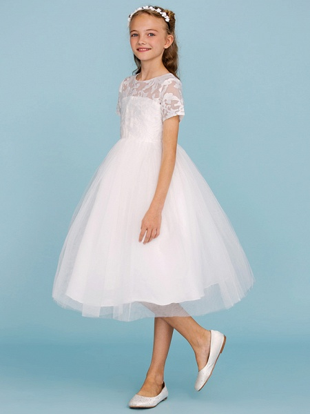 Princess / A-Line Crew Neck Knee Length Lace / Tulle Junior Bridesmaid Dress With Pleats / Wedding Party / See Through_3