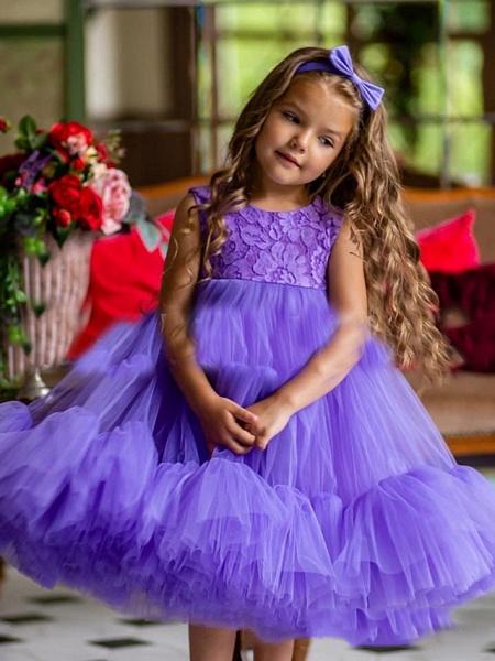 Princess / A-Line Floor Length Party / Birthday Flower Girl Dresses - Tulle Sleeveless Jewel Neck With Pleats / Cascading Ruffles_1