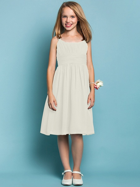Sheath / Column Straps Knee Length Chiffon Junior Bridesmaid Dress With Ruched / Draping / Spring / Summer / Fall / Apple / Hourglass_19