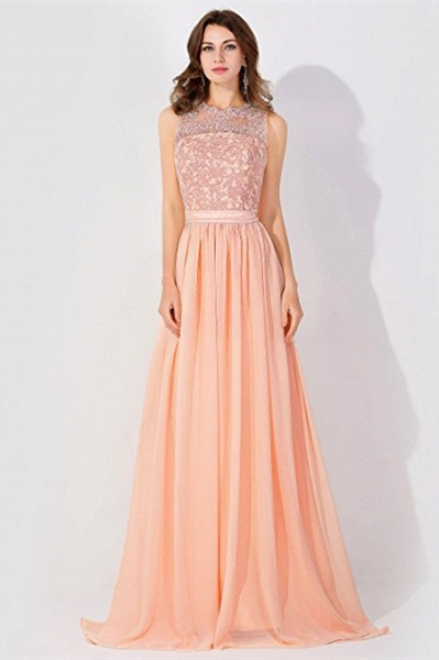 Lace Chiffon Long A-line Backless Evening Gown_5