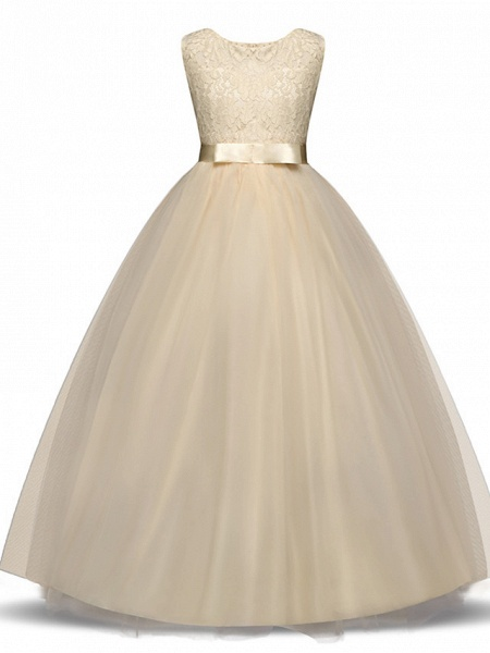 Princess Long Length Wedding / First Communion Flower Girl Dresses - Lace / Tulle Sleeveless Jewel Neck With Lace / Bow(S) / Embroidery_6