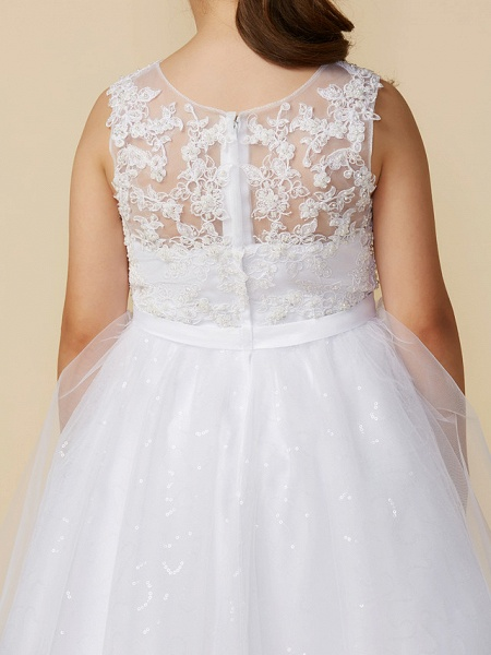 Princess Ankle Length Wedding / First Communion Lace / Tulle Sleeveless Boat Neck With Lace / Bow(S)_6