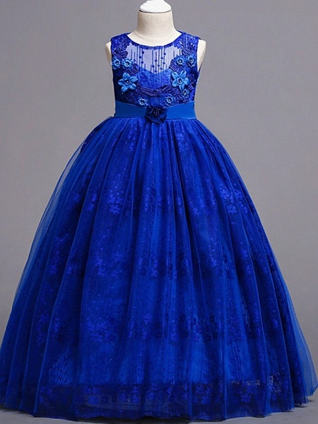 Princess / Ball Gown Floor Length Wedding / Party Flower Girl Dresses - Tulle Sleeveless Jewel Neck With Bow(S) / Flower_2