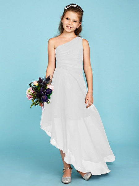 A-Line One Shoulder Asymmetrical Chiffon Junior Bridesmaid Dress With Side Draping / Wedding Party_47