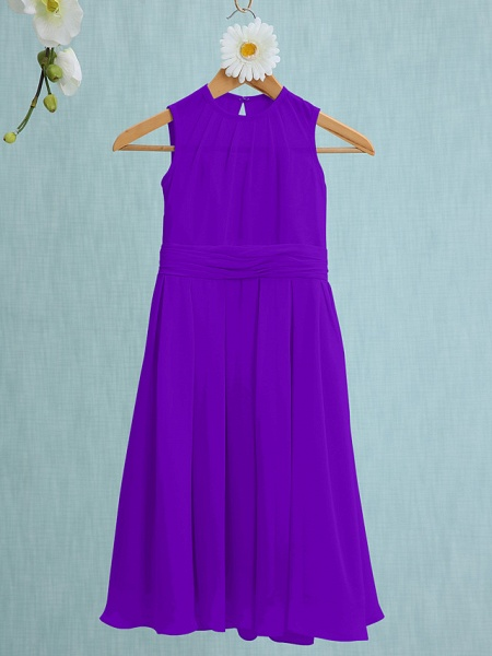 Sheath / Column Jewel Neck Knee Length Chiffon Junior Bridesmaid Dress With Ruched / Natural_35