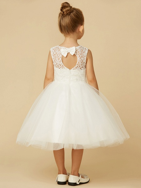Princess Tea Length Wedding / First Communion Flower Girl Dresses - Lace / Tulle Sleeveless Jewel Neck With Sash / Ribbon / Bow(S)_5