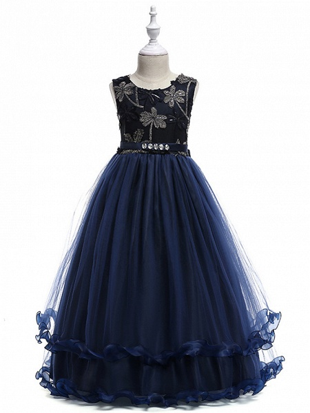 Princess Long Length Wedding / Party / Pageant Flower Girl Dresses - Lace / Tulle Sleeveless Jewel Neck With Crystals / Embroidery_2
