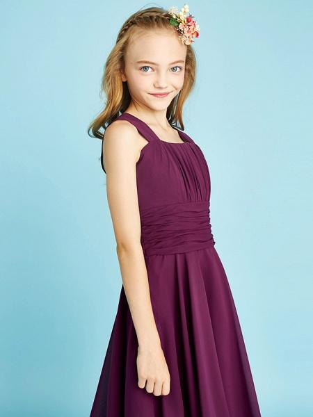 A-Line Straps Knee Length Chiffon Junior Bridesmaid Dress With Sash / Ribbon / Ruched / Draping / Natural_9