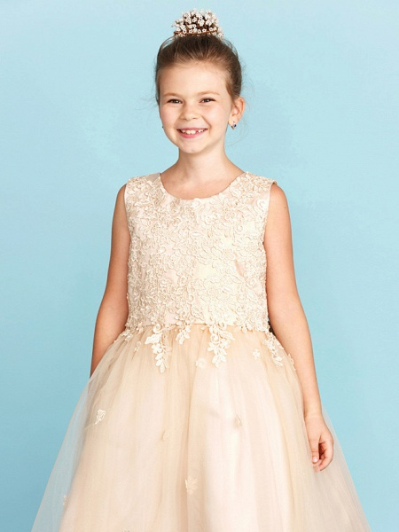 Princess / A-Line Jewel Neck Knee Length Lace / Tulle Junior Bridesmaid Dress With Bow(S) / Appliques / Wedding Party_5