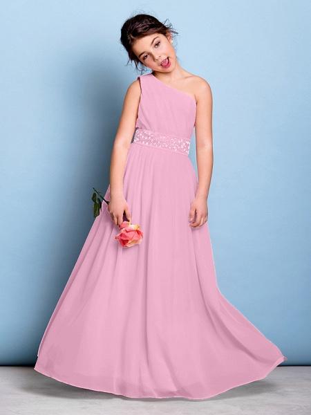 A-Line One Shoulder Floor Length Chiffon Junior Bridesmaid Dress With Sash / Ribbon / Beading / Side Draping / Natural_11