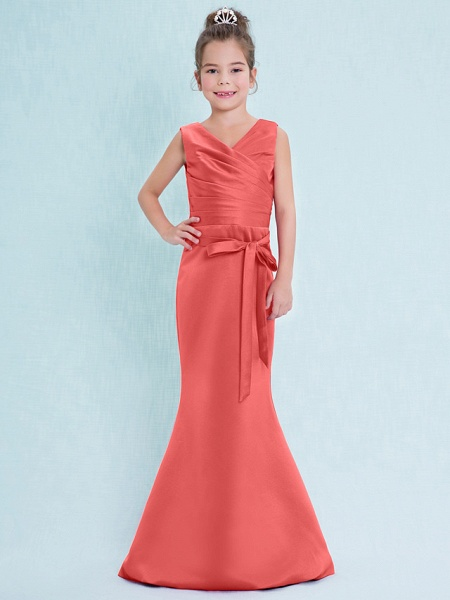 Mermaid / Trumpet V Neck Floor Length Satin Junior Bridesmaid Dress With Criss Cross / Natural_14