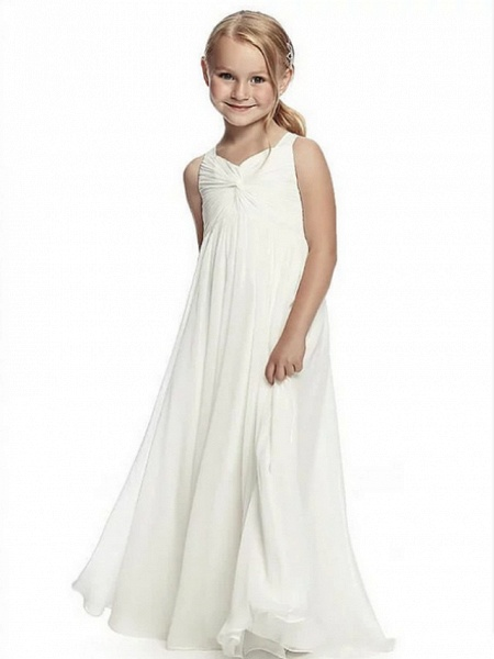 A-Line Round Neck Floor Length Chiffon Junior Bridesmaid Dress With Side Draping / First Communion_1