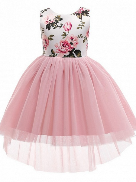 Princess / Ball Gown Asymmetrical Wedding / Party Flower Girl Dresses - Tulle / Mikado Sleeveless Jewel Neck With Bow(S) / Pattern / Print_1