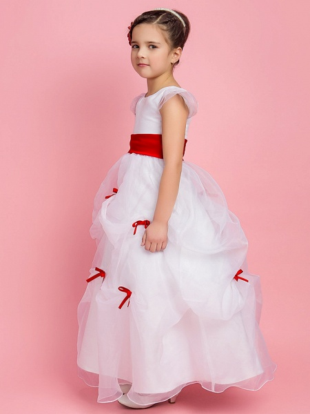 Princess / Ball Gown / A-Line Floor Length First Communion / Wedding Party Organza Short Sleeve Jewel Neck With Pick Up Skirt / Sash / Ribbon / Bow(S) / Spring / Fall / Winter_3