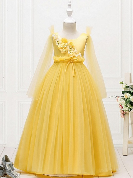 Princess / Ball Gown Floor Length Wedding / Party Flower Girl Dresses - Tulle Long Sleeve Jewel Neck With Bow(S) / Flower_2