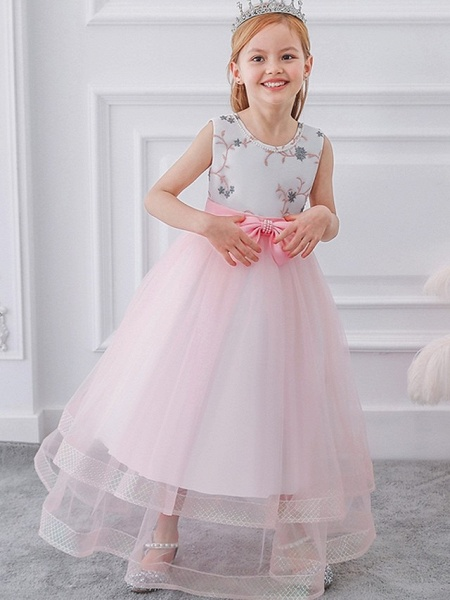 Princess / Ball Gown Floor Length Wedding / Party Flower Girl Dresses - Tulle Sleeveless Jewel Neck With Sash / Ribbon / Bow(S) / Appliques_2