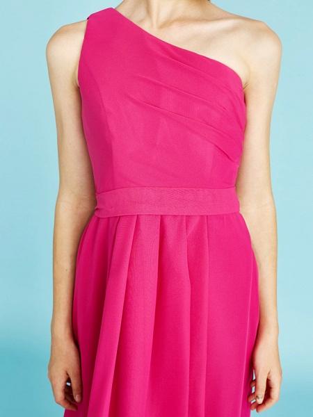 A-Line One Shoulder Asymmetrical Chiffon Junior Bridesmaid Dress With Sash / Ribbon / Bow(S) / Side Draping / Natural_10