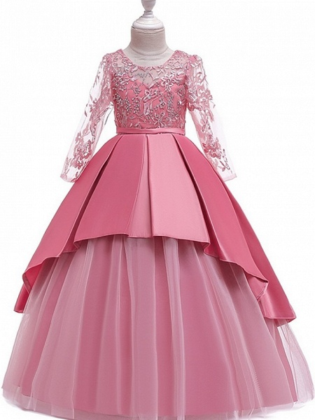 Princess Round Floor Length Cotton Junior Bridesmaid Dress With Bow(S) / Pleats / Crystals_3