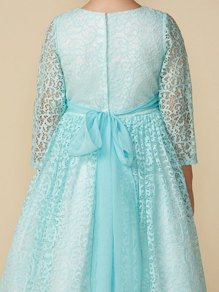 A-Line Tea Length Party / Birthday Lace 3/4 Length Sleeve Jewel Neck With Sash / Ribbon / Crystal Brooch_5