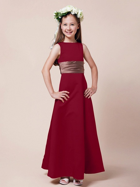 Princess / A-Line Bateau Neck Floor Length Satin Junior Bridesmaid Dress With Sash / Ribbon / Ruched / Spring / Summer / Fall / Winter / Apple_12