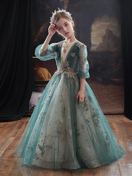 Princess / A-Line Floor Length Party / Birthday Flower Girl Dresses - Lace / Tulle Long Sleeve Jewel Neck With Appliques / Side Draping / Splicing_2