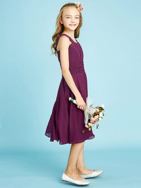 A-Line Straps Knee Length Chiffon Junior Bridesmaid Dress With Sash / Ribbon / Ruched / Draping / Natural_4