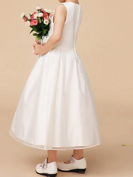 A-Line Ankle Length First Communion Flower Girl Dresses - Polyester Sleeveless Jewel Neck With Bow(S)_4
