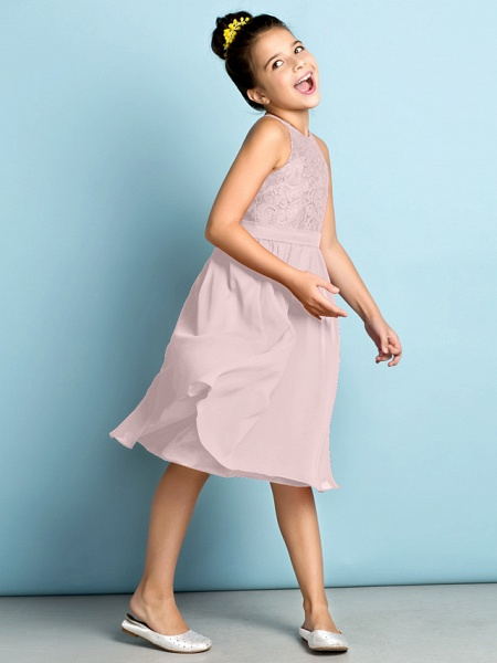 A-Line Jewel Neck Knee Length Chiffon / Lace Junior Bridesmaid Dress With Lace / Natural / Mini Me_19