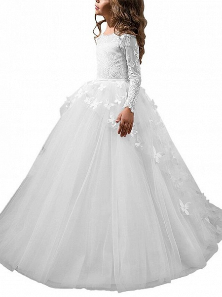 Ball Gown Sweep / Brush Train Party / First Communion / Birthday Flower Girl Dresses - Lace Long Sleeve Jewel Neck With Bow(S) / Appliques_4