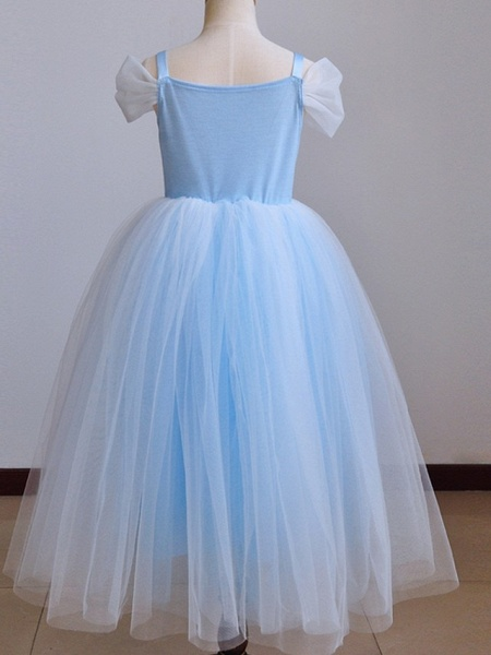 Ball Gown Floor Length Pageant Flower Girl Dresses - Polyester Short Sleeve Spaghetti Strap With Pendant_7
