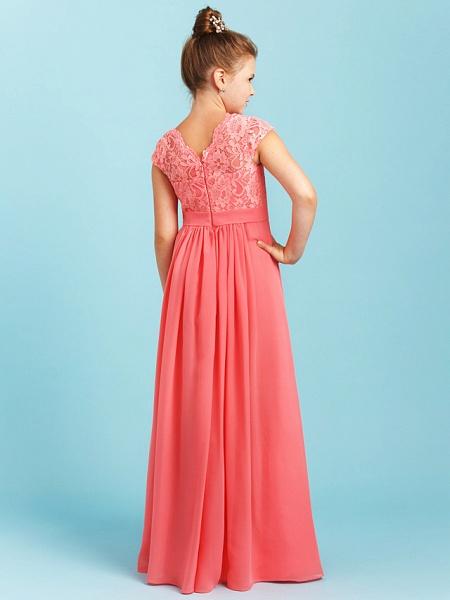 Princess / A-Line V Neck Floor Length Chiffon / Lace Junior Bridesmaid Dress With Sash / Ribbon / Pleats / Wedding Party_2