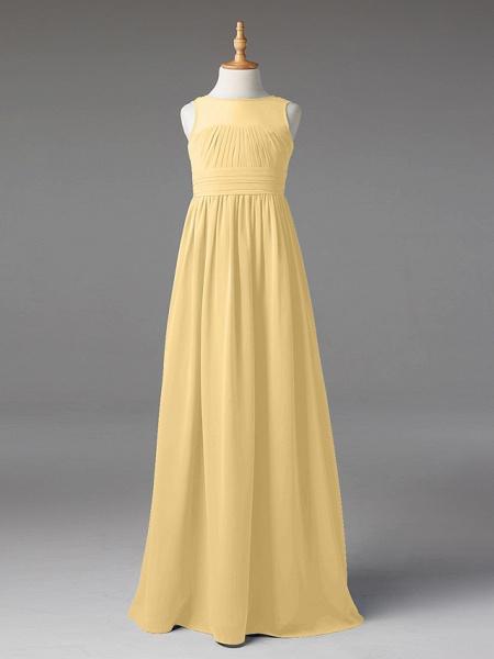 Princess / A-Line Jewel Neck Floor Length Chiffon Junior Bridesmaid Dress With Sash / Ribbon / Pleats_34