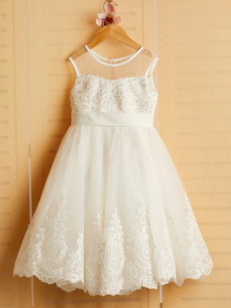 Princess Tea Length Wedding / Birthday / Pageant Flower Girl Dresses - Satin / Tulle Sleeveless Jewel Neck With Bows / Belt / Beading_4