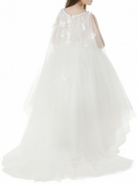 Ball Gown Asymmetrical First Communion Flower Girl Dresses - Polyester Sleeveless Jewel Neck With Appliques_4