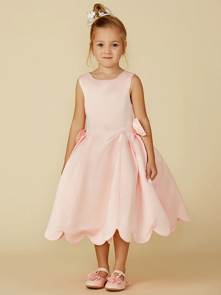 Ball Gown Tea Length Pageant Flower Girl Dresses - Satin Sleeveless Jewel Neck With Bow(S)_1
