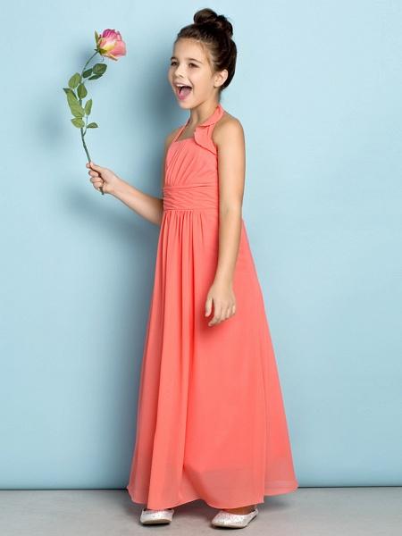 Sheath / Column Halter Neck Ankle Length Chiffon Junior Bridesmaid Dress With Side Draping / Natural / Mini Me_4