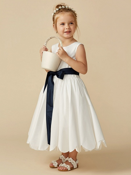 A-Line Tea Length Wedding / First Communion Flower Girl Dresses - Taffeta Sleeveless Jewel Neck With Sash / Ribbon / Pleats_5