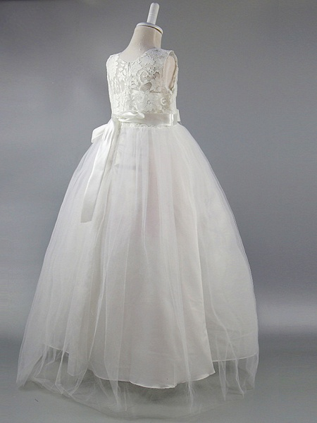 Ball Gown Ankle Length Wedding / First Communion / Pageant Flower Girl Dresses - Satin Sleeveless Jewel Neck With Lace / Sash / Ribbon / Draping / Elegant / Beautiful Back / See Through_7