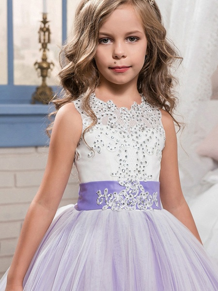 Princess Sweep / Brush Train Wedding / Birthday / Pageant Flower Girl Dresses - Tulle / Mikado Sleeveless Jewel Neck With Bow(S) / Appliques / Crystals / Rhinestones_2