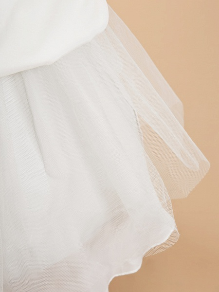 A-Line Ankle Length Wedding / First Communion Flower Girl Dresses - Lace / Satin Sleeveless Jewel Neck With Lace_7