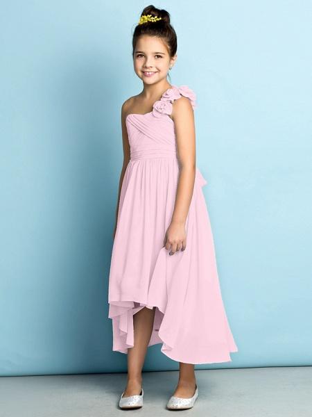 A-Line One Shoulder Asymmetrical Chiffon Junior Bridesmaid Dress With Criss Cross / Flower / Natural / Mini Me_13