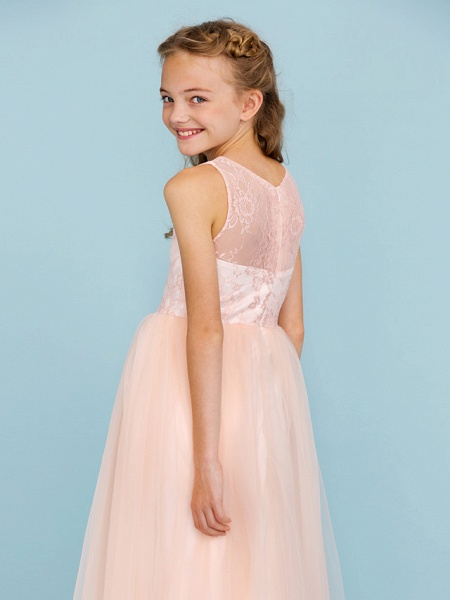 Princess / A-Line Crew Neck Floor Length Lace / Tulle Junior Bridesmaid Dress With Pleats / Wedding Party / See Through_6