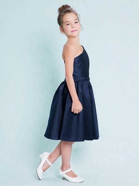 A-Line One Shoulder Knee Length Satin Junior Bridesmaid Dress With Sash / Ribbon / Pleats / Natural_4