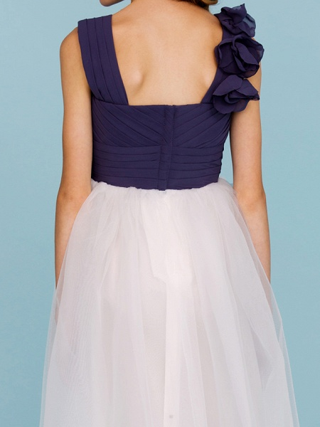 Princess / A-Line Straps Floor Length Chiffon / Tulle Junior Bridesmaid Dress With Criss Cross / Ruched / Flower / Color Block / Floral / Wedding Party_8